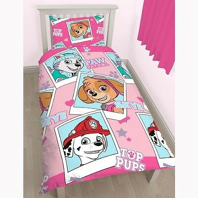 Paw Patrol 'stars' Reversible Rotary Single Bed Duvet Quilt Cover Set (Free P+P)