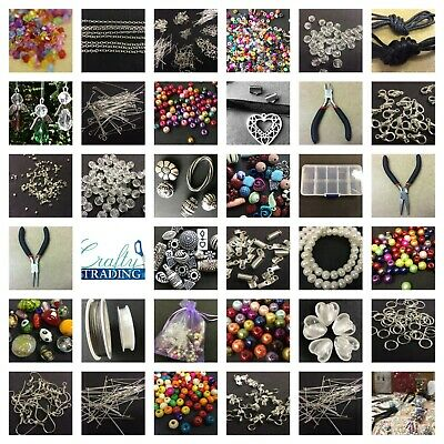 Large Jewellery Making Starter Kit 800 Beads Tools,Findings,Box FREE ANGEL KIT