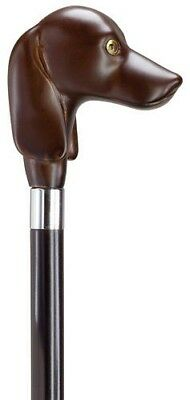 Brown Italian Dachshund Dog Head Handle Black Maple Wooden Walking Cane Stick