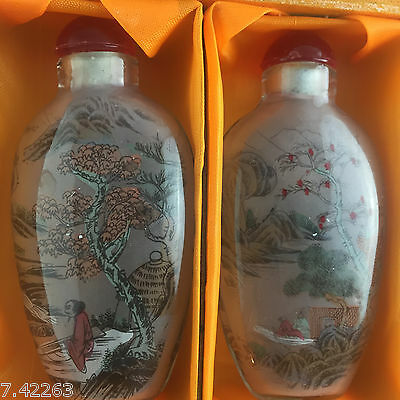 4Pcs Rare Chinese Inside Hand Painting Glass Sexy Snuff Bottle  03A