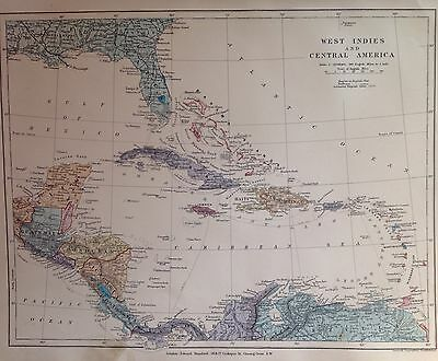 West Indies And Central America Antique Map c1880 Original Vintage