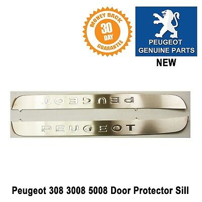 Peugeot 308 Brushed Steel Door Protector Sill Stainless Front Left & Right New