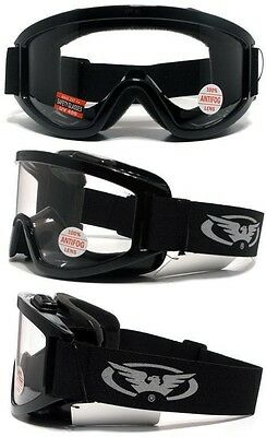 Windshield Clear Anti Fog Lens Fit Over Most Glasses Motorcycle Safety Goggles