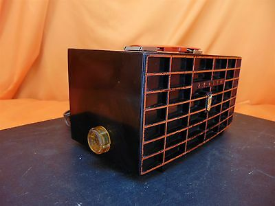 Vintage 1956 ZENITH X509Y Black & Red Painted Plastic Case TUBE RADIO ~ A BEAUTY