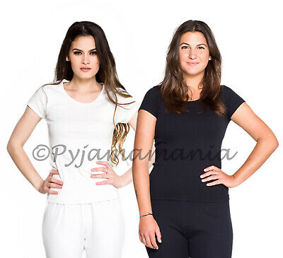 2 Pack Ladies Cotton Thermal Underwear Spencer Short Sleeve White & Black