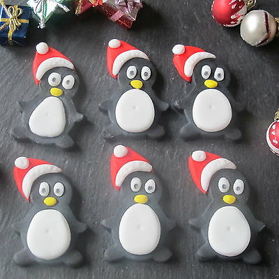 6 Sugar Christmas Penguin  Fondant Cupcake Toppers ,cake Decorations,