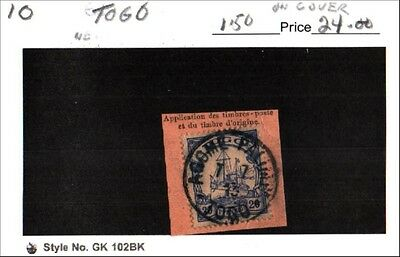 Togo Stamp Lot Scott 10 Used with cover cancel Low Combined Shipping