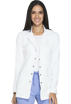 "White Dickies Xtreme Stretch Junior Fit Snap Front 28"" Lab Coat 82400 DWHZ"