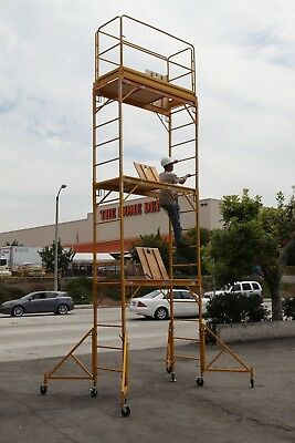Scaffold Rolling Tower Stand at 17 Feet H W/ Hatch Deck