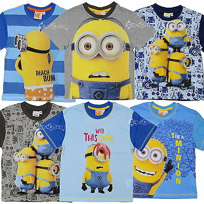bd1d0d430 Boys Girls Official Despicable Me Minions Cotton T Shirt Top Ages 2-8 Years