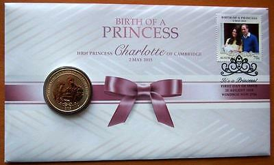 2015 Australian Birth Of A Princess Pnc Stamp & $1 Coin Cover - Perth Mint Coin