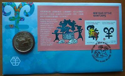 2015 Australian Year Of The Goat Pnc Stamp & $1 Coin Cover - Perth Mint Coin
