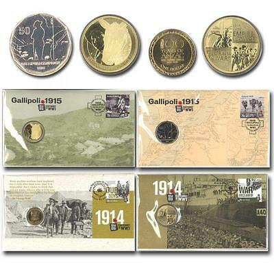 Australian 4 Different Anzac Centenary Of Ww1 Gallipoli Pnc Stamp & Coin Covers
