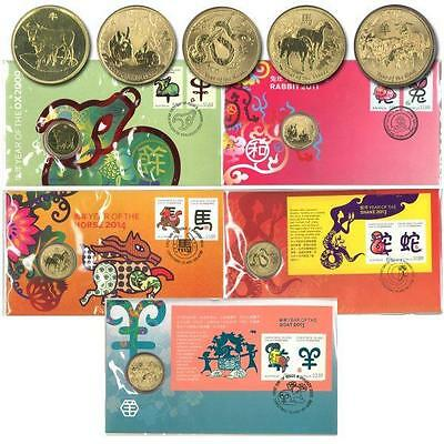 Australian 5 Different Chinese Lunar New Year Pnc Stamp & $1 Coin Covers