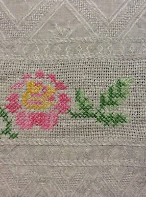 "Beautiful Linen Towel Cross Stitch Embroidered Roses Flowers 50""x27"" OPENWORK"