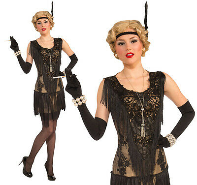 Ladies Deluxe Back Flapper Fancy Dress Costume 1920 Charleston Outfit UK 10-14