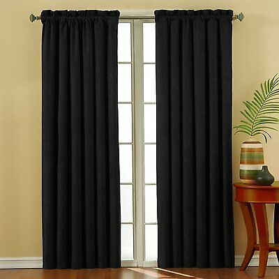 Eclipse Suede 42-Inch by 63-Inch Thermaback Blackout Panel, Black CXX