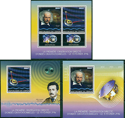 Einstein Science Space Physics Waves Congo MNH stamp set 2val + 2 de-luxe s/s