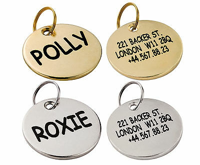 Dog ID Tag Personalised Custom Engraved Brass Silver Pet Name Single Dual Side