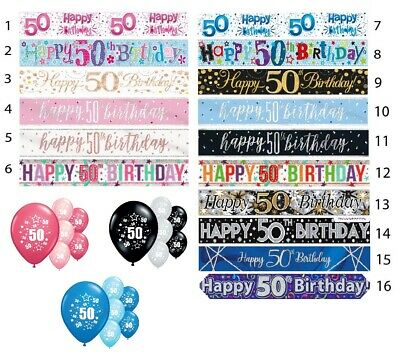50th BIRTHDAY BANNERS PARTY DECORATIONS PINK BLUE BLACK WALL BANNERS