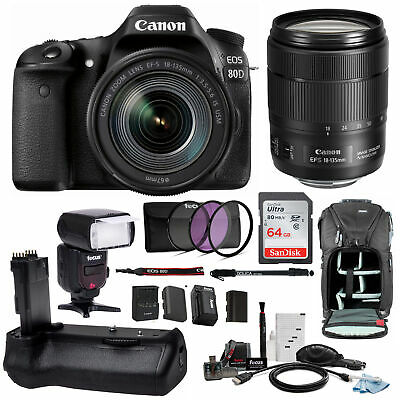 Canon EOS 80D DSLR Camera w/ 18-135mm f/3.5-5.6 Lens & Bower TTL Flash & Battery