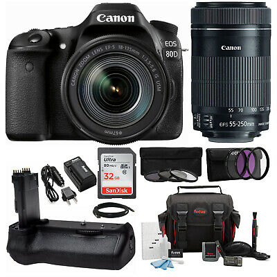 Canon EOS 80D DSLR Camera with EF-S 18-135mm & EF-S 55-250mm Lens Bundle