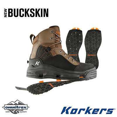 NEW -  Korkers Buckskin Wading Boots, Kling-On/Studded Kling-On-12 - FREE SHIPPI