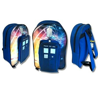 Doctor Who 'tardis' Pvc Front School Bag Rucksack Backpack (Free P+P)