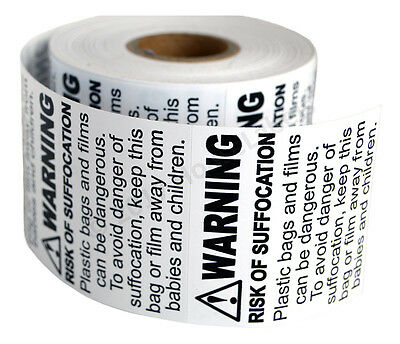60 Rolls ; 500 Labels 2 x 2 Suffocation Warning FBA approved Labels/Stickers