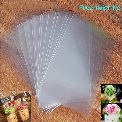 Empty Clear Cellophane Bags for Sweet, Lollipops, Cakepops, Cookie Cello Display