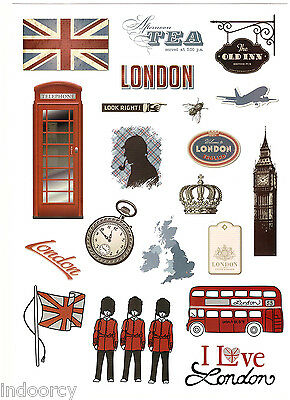 Waterproof Laptop London Vintage Style Travel Wall Luggage Stickers Car England