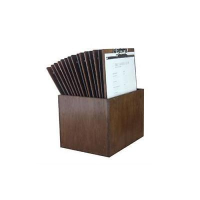Wooden Menu Board, A4 with Top Lever Clamp & Storage Box, Set of 15 Menus / Cafe