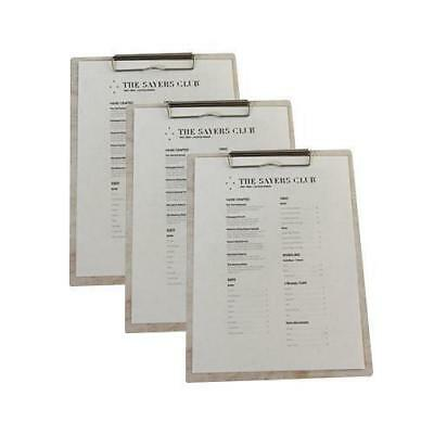 5x Wooden Menu Board, Antique Whitewash Distressed A4 w Top Standard Clip, Cafe