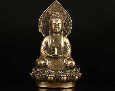 Chinese Collection Old Handmade Casting Brass Buddhist Guanyin Statue