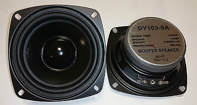"2x Dynavox 4"" 10cm 100mm Bass Speaker Woofer DY-103 4Ohm PAIR"