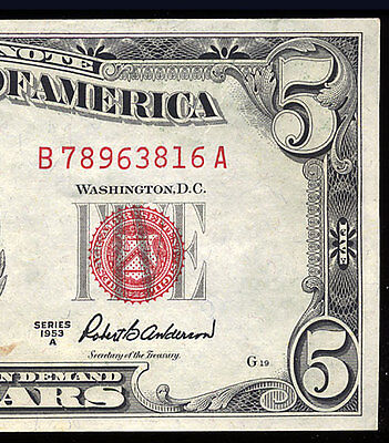 1953A $5 United States Red Seal Note Almost Unc