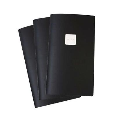 20x Deluxe Tuscan Leather Menu, Black, A4, Narrow with 2 Pockets, 'Wine' Badge