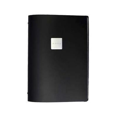 Deluxe Tuscan Leather Menu, Black, A4 w 4 Pockets, 'Menu' Badge, Restaurant