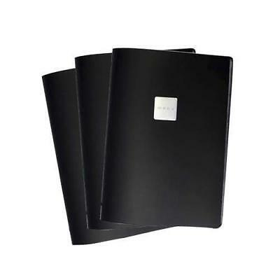 10x Deluxe Tuscan Leather Menu, Black, A4 w 4 Pockets, 'Menu' Badge, Restaurant