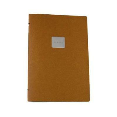 Deluxe Tuscan Leather Menu, Natural, A4 w 2 Pockets 'Menu' Badge, Restaurant