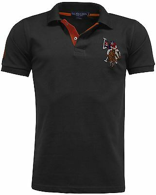 POLO Mens Short Sleeve Shirt Top Designer Contrast Polo Style Big Horse T-Shirt