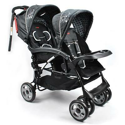 Aussie Baby Hi-Rise Tandem New Born & Toddler Double Pram - Black
