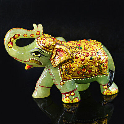 Museum Size 1690.00 Cts Natural Rare Elephant Carved Rich Green Jade Gemstone