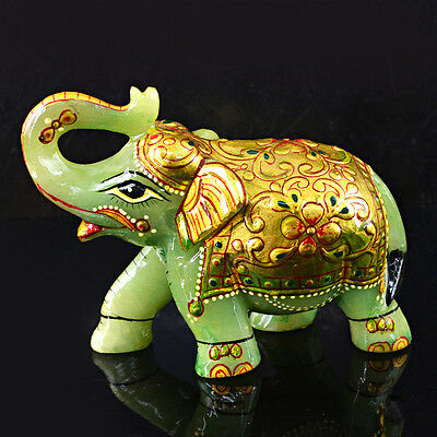 Unheated 1615.00 Cts Natural Elephant Carved Rich Green Jade Gemstone - Big Deal