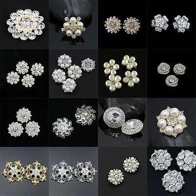 2Pcs Crystal Rhinestone Pearl Buttons DIY Embellishment Sewing Craft Accessories
