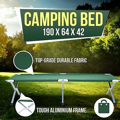 New Bed Stretcher Portable Folding Camping Bed Green Carry Bag 190x64x42cm