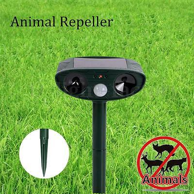 Solar Powered Dog Cat Dual Double 2 Ultra Sonic Repeller Repellent PIR Control