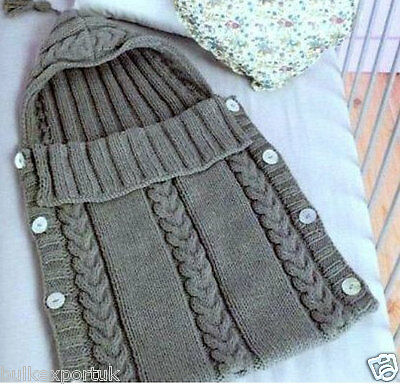 Baby Bunting Bag Knitting Pattern : Knitting pattern baby sleeping bag aran cocoon bunting 0-3 months Nr.29   ?1....