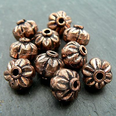 Solid Copper Rounded Flower Beads (set of 10 beads)
