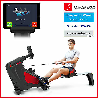 Sportstech RX500 rowing machine with smartphone app control indoor rower workout